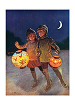 Skating With Lanterns (Children's Playtime Children Greeting Cards)