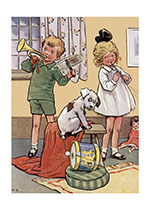 Children Playing Horn and Pipe (Children's Playtime Children Greeting Cards)