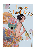 Young Woman & Lanterns (Birthday Greeting Cards)