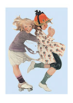 Girls Roller Skating (Girls Children Greeting Cards)