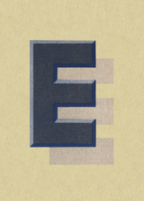E with Shadow (Vintage Typography Graphic Design Greeting Cards)