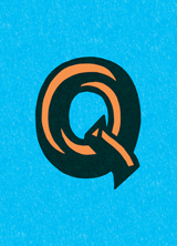 Swirly Q (Vintage Typography Graphic Design Greeting Cards)