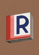 Floating R (Vintage Typography Graphic Design Greeting Cards)