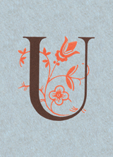 Flowery U (Vintage Typography Graphic Design Greeting Cards)