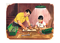 Father and Son Crafts (Boys Children Art Prints)