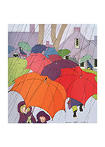 Colorful Umbrellas On A Rainy Day (Children Greeting Cards)