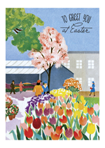 Easter Greeting w Tulips (Easter Greeting Cards)