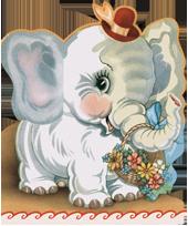 Elephant w/ Flowers (Birthday Greeting Cards)