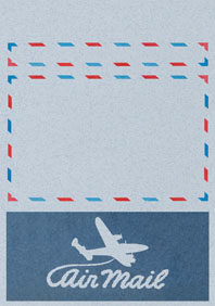 Swirly Aeroplane Blue (Aerogram Self Mailer Travel Greeting Cards)