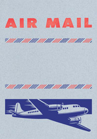 Big Old Jet Airliner Blue (Aerogram Self Mailer Travel Greeting Cards)
