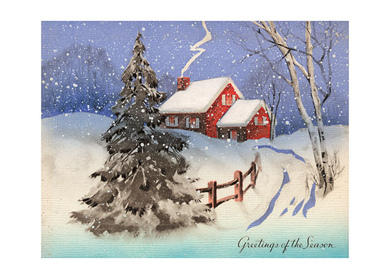 A House and Trees in Deep Snow (Many More Christmas Art Prints)