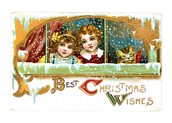 Two Girls and Their Cat at a Snowy Window (Many More Christmas Greeting Cards)