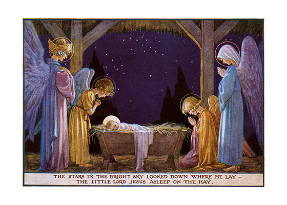Angels and the Holy Family at the Manger