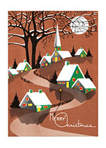Snow Topped Houses Beneath the Moon (Many More Christmas Greeting Cards)
