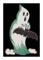Halloween Ghost and Bat (Classic Halloween Art Prints)