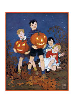 Children Walking In Leaves (Classic Halloween Greeting Cards)