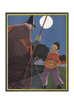 A Boy With A Jack O Lantern Meeting a Witch (Classic Halloween Art Prints)