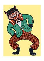 Dancing Halloween Cat (Classic Halloween Art Prints)