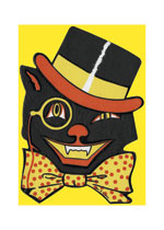 Black Cat Wearing a Bowtie (Classic Halloween Art Prints)