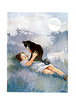 A Girl Talking To Her Cat (Captivating Cats Animals Art Prints)