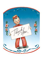 Bell boy holding placard (Thank You Greeting Cards)