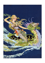 Mermaid and Sea Dragon (Mermaids Art Prints)