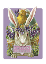 Easter Rabbit With Purple Flowers Greeting Card