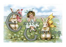 Bunnies and Girl Easter Greeting Card