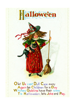 Witch With Cat and Broom