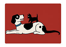 Cat and Dog (Animal Friends Animals Art Prints)