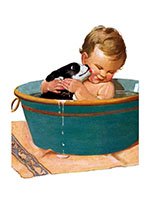 Puppy and Baby in Bath (Friendship Greeting Cards)