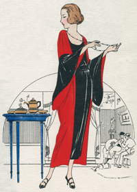 Japanese indoor Costume 1920s (1920s Fashion Fashion Greeting Cards)