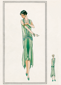 Nile green gown 1920s (1920s Fashion Fashion Art Prints)