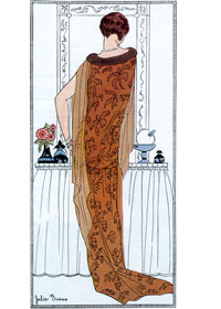 Tangerene Hostess Gown 1920s (Jazz Age Fashion Greeting Cards)