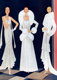 White velvet gowns 1920s (1920s Fashion Fashion Art Prints)