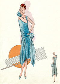 Blue Lace Gown 1920s (1920s Fashion Fashion Greeting Cards)