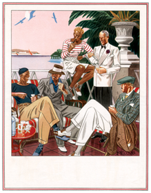 Five Gentlemen Enjoying the Riviera (1920s Fashion Fashion Art Prints)
