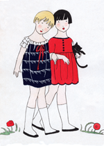 Chic Little Girls of the 1920s (Jazz Age Fashion Greeting Cards)