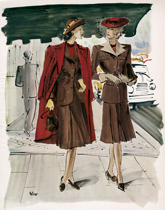 Suiting in Shades of Red and Brown (1940s Fashion Fashion Art Prints)