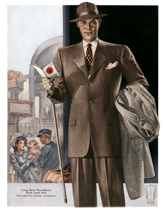 Men's Suits for Travel from the 1940s (1940s Fashion Fashion Greeting Cards)