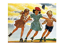 Children Roller Skating (Children's Playtime Children Art Prints)