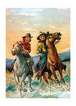 Cowboy and Cowgirl Riding the Range (Birthday Greeting Cards)