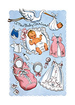 Stork and Baby Paper Doll (Baby Art Prints)