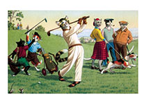 Cat Golfers (Captivating Cats Animals Art Prints)
