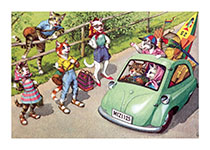 Hitchhikers (Captivating Cats Animals Art Prints)