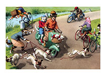 A Wild Scooter Ride (Captivating Cats Animals Art Prints)