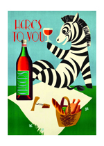 Toasting Zebra (Friendship Greeting Cards)