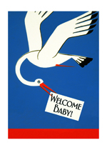 Stork Bringing News (Baby Greeting Cards)