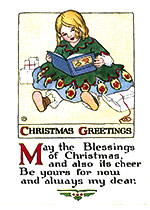 Girl Reading Her New Christmas Book (Many More Christmas Greeting Cards)