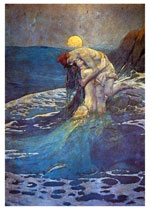 A Moonlight Tryst With A Mermaid (Mermaids Art Prints)